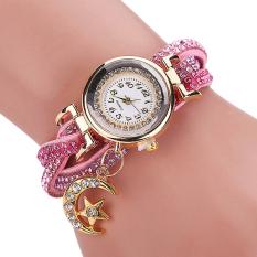 Bluelans Women's Moon Star Rhinestone Faux Leather Wrap Bracelet Watch Pink (Intl)