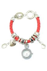 Sanwood Women's Rhinestone Charm Faux Leather Braided Bracelet Watch Red