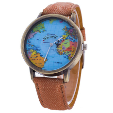 Sanwood Women's Map Dial Denim Strap Quartz Wrist Watch Coffee (Intl)