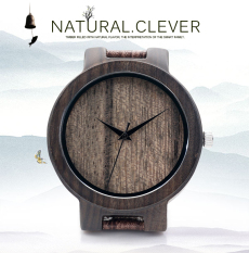 BOBOBIRD Mens Top Brand Designer Wood Grain Leather Bands Quartz Watches (Brown)