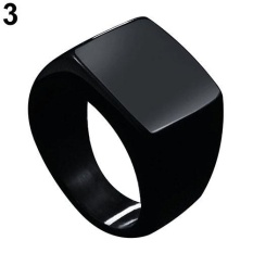 BODHI Fashion Men Stainless Steel Plain Square Wedding Finger Ring Band Punk Jewelry US 7 (Black) - intl