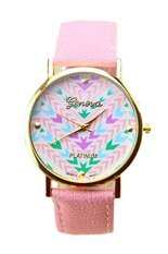 BODHI Women Faux Leather Geneva Ladies Dress Quartz Watch (Pink) (Intl)
