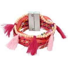 Bohemian Women Braided Tassel Bracelet Pink