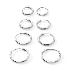 BolehDeals 4 pasang 925 Sterling Perak lingkaran tak berujung bulat tidur anting-anting 8 10