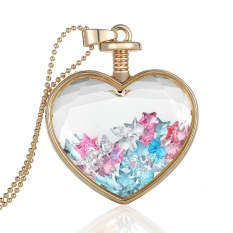 Generic Gold Plated Glass Bottle Heart Star Pendant Necklace Chain Wedding Bridal