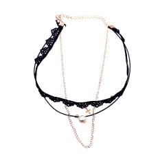 BolehDeals Punk Lady Gothic Black Lace Choker Cross Pearl Charm Pendant Necklace