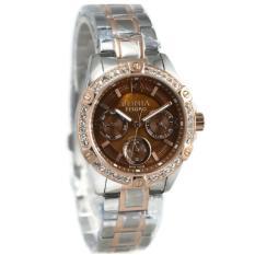 Bonia BNB10296-2645S Jam Tangan Wanita Silver Kombinasi Rosegold Plat Coklat Stainless Steel