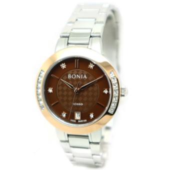 Bonia - Jam Tangan Wanita - Silver-Coklat Ring Rosegold - Stainless Steel - BNR100
