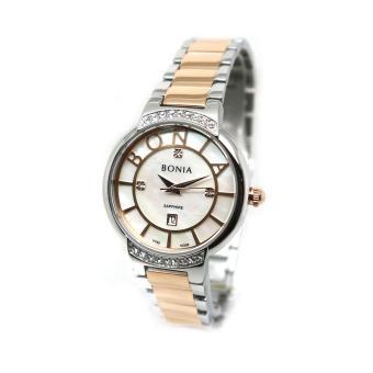 Bonia - Jam Tangan Wanita - Silver Komb Rosegold-Putih - Stainless Steel - BNB10338