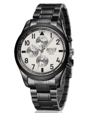 BOSCK Men's Business Casual Sports Waterproof Strip Waterproof Quartz Watches (Black / White)