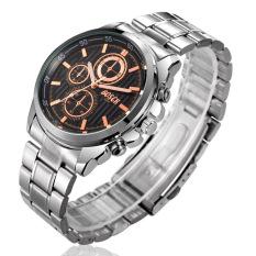 BOSCK Men's Waterproof Strip Three Rappel Gifts Business Waterproof Quartz Watches (Silver)