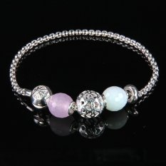 Bracelet Chain With Classic Bead Karma Beads New Fashion Beads Bracelet Jewelry With Pink Crystal Zirconia Bevelled Beads Linkchain Bracelet Jewelry Trendy Bracelet For Women Gifts 925 Sterling Silver Plating Beaded Bracelet