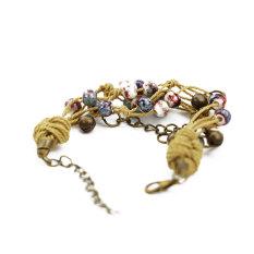 Braided Rop Ceramic Turquoise Natural Stone Charm Bracelet Pearl Friendship Vintage Charm Bracelet Femme For Women (Intl)