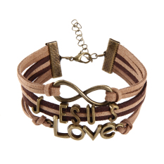 Jesus Love Pendant Braid Bracelet Unisex String Band Bangle