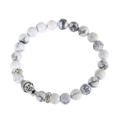 Buddha Head Beads String Stretchy Bracelet Magnesite (Intl)
