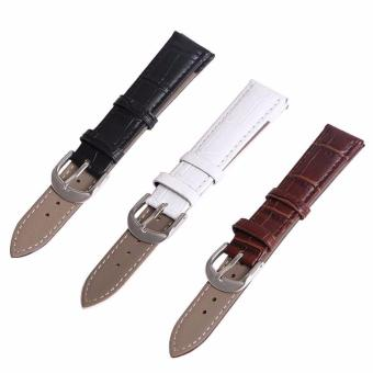 Buy 1 Get 3 Twinklenorth 16mm Black Brown White Genuine Leather Watch Strap Band - intl