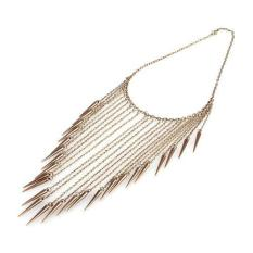 BUYINCOINS New Fashion Gothic Punk Spike Rivet Long Chain Tassel Necklace
