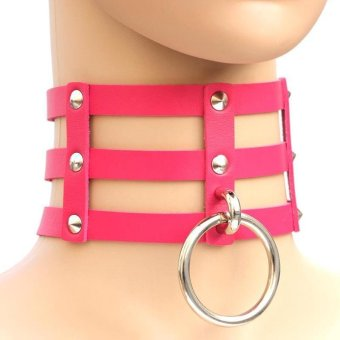 BUYINCOINS New Fashion Punk Goth Rivets Choker Three Row Caged Leather Ring Collar Necklace Rose Red