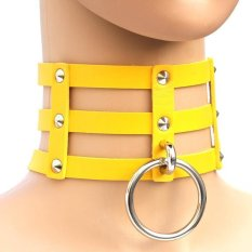 BUYINCOINS New Fashion Punk Goth Rivets Choker Three Row Caged Leather Ring Collar Necklace Yellow