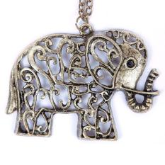 BUYINCOINS Woman Girl Jewelry Wholesale New Vintage Hollow-out Elephant Long Chain Necklace