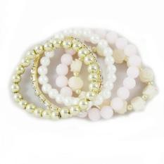 BUYINCOINS Women Multilayer Rose Flower Round Pearl Rhinestone Crystal Elastic Bracelet