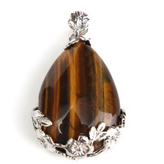 Carnelian Rose Quartz Amethyst Etc Teardrop-shaped Silver-Plated Inlay Pendant Tiger Eye - Intl