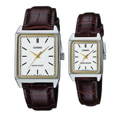 Casio Couple Watch Jam Tangan Couple - Brown Silver - Strap Genuine Leather - V007L-7E2UDF
