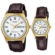 Casio Couple Watch Jam Tangan Couple - Cokelat Gold - Strap Genuine Leather Band - V006GL-7BUDF