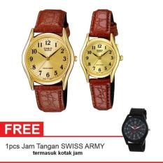 Casio Couple Watch Jam Tangan Couple - Cokelat - Strap Leather - Casual Watch - 1094Q + Gratis Swiss Army Watch (One Size)