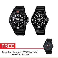 Casio Couple Watch Jam Tangan Couple - Hitam - Strap Karet - Sporty Couple + Gratis Swiss Army Watch (One Size)