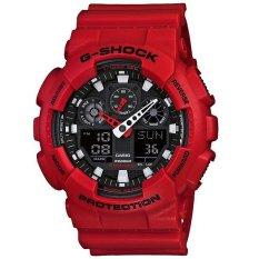 Casio G-Shock GA-100B-4A Analog Digital Men's Watch - Red (Red)