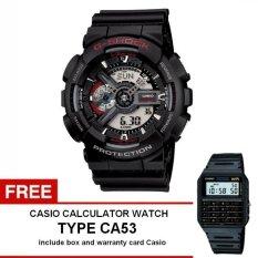 Casio G-Shock Watch Jam Tangan Pria - Hitam - Strap Rubber - GA-110-1ADR + Free Casio Calculator Watch CA53