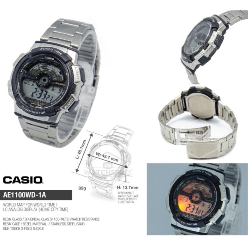 ... Pria Silver Source Casio Jam Tangan Digital AE 1100WD 1AVDF Tali Stainless