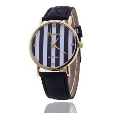 Casual GENEVA Leather Strap Watches Women Stripe Dress Quartz Wristwatch (Black) (Intl)