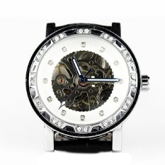 Casual Unisex Automatic Mechanical Wrist Watch Skeleton Pu Casual White (Intl)