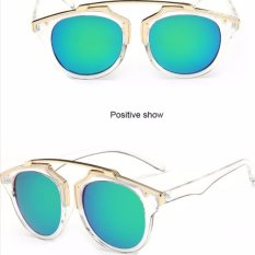 Cat Eye Retro Sunglasses - Kacamata Wanita - Hitam - CHF 008 CLEAR GREEN