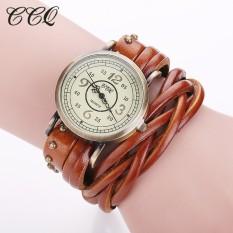 CCQ Brand Fashion Vintage Retro Rivet Braided Genuine Leather Bracelet Watch Women Quartz Watch Clock Relogio Feminino 1513(Light Brown)