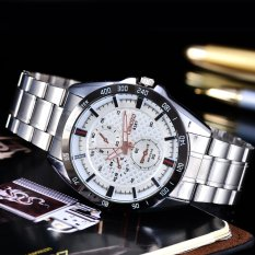 Cenozo - Jam Tangan Pria - Body Silver - White Dial - Silver Stainless Steel Band