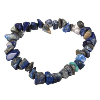 Charm Gemstone Bead Crystal Millefiori Glass Quartz Chip Stretch Bangle Bracelet Sodalite - Intl