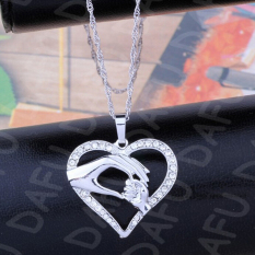 Charm Mom Hold Kids Children Hand Love Heart Pendant Charm Chain Necklace Silver