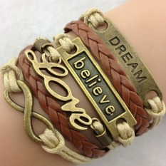 Chic Sexy Leather Weave Infinity Charm Bracelet Silver Lots Style Pick Gift