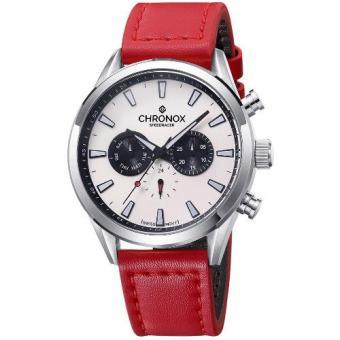 Chronox Speedracer CX2002 / A4 - Jam Tangan Pria - Tali Kulit Merah - Putih Silver (Red)