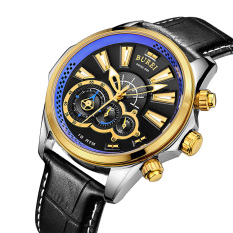 CITOLE BUREI Brand Men Watch Stainless Steel Strap Quartz Sapphire Wristwatch 3ATM Waterproof Sport Chronograph Watches Relojes Hombre (Gold Blue Leather)
