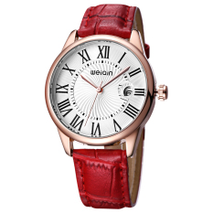 CITOLE WEIQIN Date PU Leather Straps Watches Women Magnifying Glass Wristwatch Lady Fashion Casual Rome Style Watch Clock S (Red)