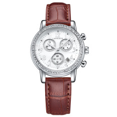 Classic Causal Business Diamond Lady's Leather Strap Quartz Wrist Watches-Brown (542-1)