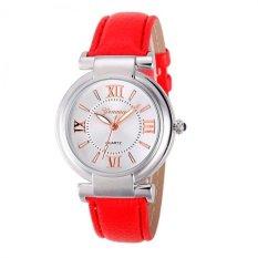Coconie Geneva Women Girl Roman Numerals Leather Band Quartz Wrist Watch Bracelet Red