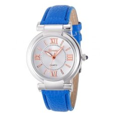 Coconie Geneva Women Girl Roman Numerals Leather Band Quartz Wrist Watch Bracelet Blue Free Shipping - Intl