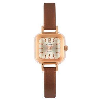 Coconie Women Lady Leather Band Wristwatch Quartz Analog Wrist Watch Coffee Free Shipping