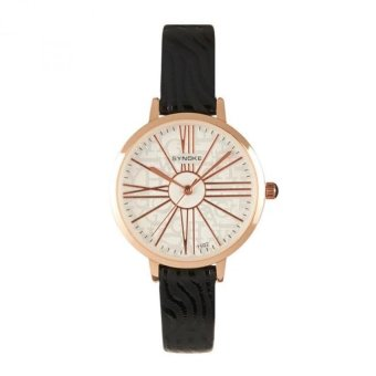 Coconie Women Leather Band Watch Stainless Steel Quartz Wrist Watch Black