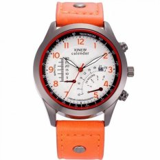 Coconiey XINEW Military Leather Waterproof Date Quartz Analog Army Men's Quartz Wrist Watches Orange Free Shipping- Intl